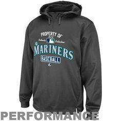 Majestic Seattle Mariners 2013 Authentic On-Field Property Of Performance 1/4 Zip Hoodie - Gray