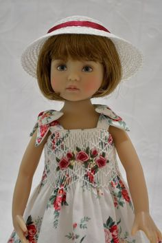 "Smocked Dress, Slip, and Hat Ensemble for 13"" Little Darling Betsy Dolls Kish. Dress is constructed using premium quality cotton fabric. Many hours hour were spend constructing this beautiful set."