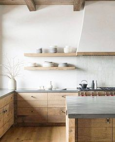 Friday Inspiration: Full of Life // Stunning stone and warm wood kitchen #kitcheninteriordesign