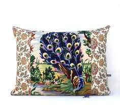£65 French Unique Vintage Tapestry Needlepoint Majestic Peacock re