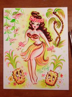 Hula Girl with Pineapples - Watercolor painting by artist Claudette Barjoud…