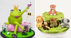gâteaux anniversaire originaux: grenouille-princesse et animaux