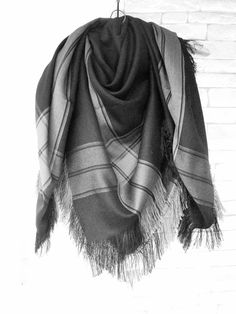 Blanket Scarf  Women Scarf  Plaid Scarf  Plaid Blanket by Ebruk