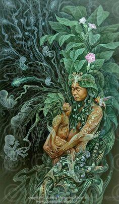 Mother's embrace - Artwork by Lobsang Melendez Ahuanari Psy Art, Goddess Art, Earth Goddess, Visionary Art, Sacred Art, Psychedelic Art, Oeuvre D'art, Art Inspo, Fantasy Art