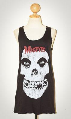 Misfits Skull Horror Punk Rock Charcoal Black Sleeveless Tank Top Singlet T-Shirt Size S