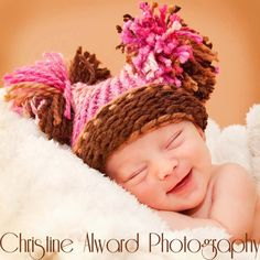 Pom Pom Hat  Baby Girl Knitted Pink & Brown Hat by inamooddesigns