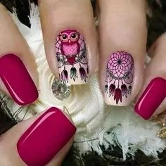 Tener un buen sueño con estas uñas Dreamcatcher Owl Nails, Pink Nails, Owl Nail Designs, Cute Nails, Pretty Nails, Indian Nails, Dream Catcher Nails, Gel Nagel Design, Nagel Gel