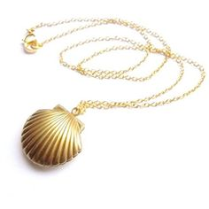 Amazon.com: Adecco LLC Sea Shell Locket, Mermaid Valentine Necklace,... ($5.99) ❤ liked on Polyvore featuring jewelry, sea shell jewellery, gold tone jewelry, brass jewelry, beachy jewelry and gold colored jewelry