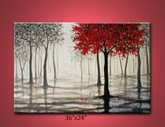 red tree rainmisty forestblack white and redlarge by maggyart. I love this picture.
