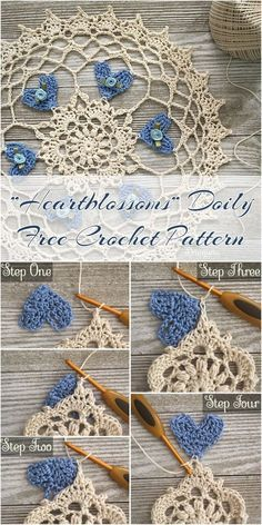 """If you like decorative elements for your home, you must see this pattern! The author added a beautiful motif of heart to her doily pattern. Beautiful and simple """"Heartblossoms"""" Crochet Doily Pattern, which you will do even in a few hours! Link for free pattern is below! Skill Level: Easy, Craft: Crochet, Designed by: Julia Hart """"Heartblossoms"""" Crochet Doily Free Pattern –...Read More »"""