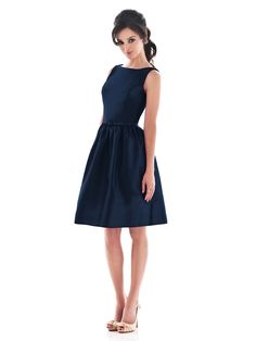 Alfred Sung boat neck cocktail dress with pockets and low back