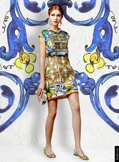 """Dolce&Gabbana Fall Winter 2014-15 Majolica Print Dresses - Majolica print satin top, with high waist majolica print brocade skirt with sequin applications. Matching embroidered clutch bag and slippers. <p><a href= http://store.dolcegabbana.com/searchresult.asp?c=cat_1130&season=main&gender=D&site=dolceegabbana><font color=""""#FFFFFF""""> To SHOP all the Dolce&Gabbana Majolica Tops CLICK HERE. </a>  <p> <p><a href= ..."""