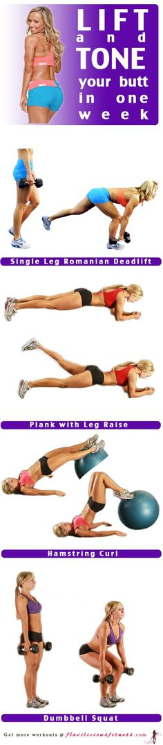 Fitness and Workout Tips 2017 : Looking to tighten that Butt? These Butt toning exercises are great to add onto… Fitness Tips, Fitness Motivation, Health Fitness, Woman Fitness, Exercise Motivation, Cardio, Toning Workouts, Weight Exercises, Glute Exercises