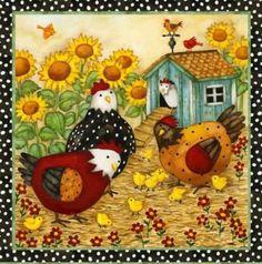Garden Flag Chicken Coop - Chicken Garden Decorations: Presents for Chicken… Chicken Crafts, Chicken Art, Decoupage, Arte Do Galo, Chicken Coop Garden, Chicken Coops, Chicken Quilt, Chickens And Roosters, Country Art