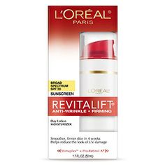 RevitaLift Anti-Wrinkle + Firming SPF 30 Day Lotion retinol skin care by L'Oreal Paris. Anti-aging face lift lotion smoothes wrinkles while SPF sunscreen protects from sun.
