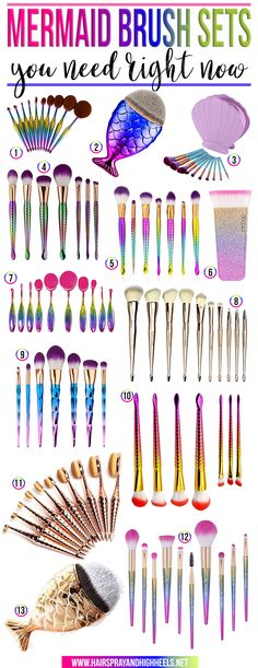 Hey YOU! Yes, YOU. LOOK at these fabulous MERMAID Makeup Brushes. You NEED them in your life!