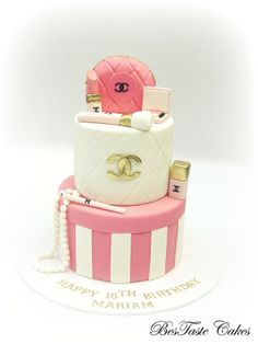 Pink, white & gold CHANEL cosmetics cake - For all your cake decorating supplies, please visit craftcompany.co.uk