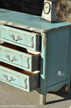 Warm Silver Metallic Paint by Modern Masters | Painted Furniture by Vintage Charm Restored