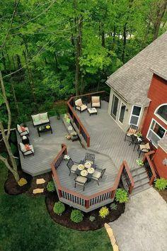 Cozy Backyard Patio Deck Design Decoration Ideas 05 Top Decking Ideas - An Ode To a Beautiful Garden Backyard Patio Designs, Backyard Landscaping, Landscaping Ideas, Patio Ideas, Deck Ideas Grey, Porch Ideas, Deck Layout Ideas, Back Yard Deck Ideas, 2 Level Deck Ideas