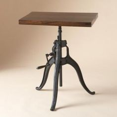 My living room wants this. Rustic Furniture, Home Furniture, Industrial Furniture, A Table, Dining Table, Night Table, Steampunk House, Adjustable Table, Living Spaces