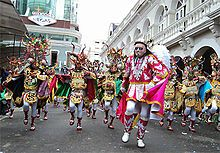 The Diablada, dance primeval, typical and main of Carnival of Oruro a Masterpiece of the Oral and Intangible Heritage of Humanity since 2001 in Bolivia