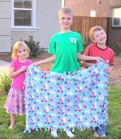 These little siblings made this sweet blanket for their baby sister who was turning 1. Homemade, thoughtful, inexpensive and she LOVED it.