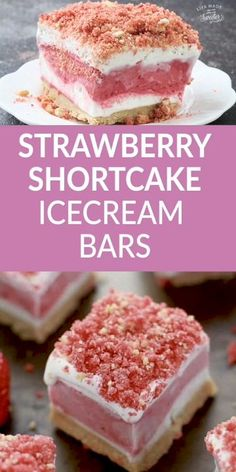 Strawberry Shortcake Ice Cream Bars are the perfect frozen no bake treat on a hot summer day just like the classic Good Humor Ice Cream popsicles. Best of all, so easy to make with delicious layers of vanilla Frozen Strawberry Desserts, Ice Cream Desserts, Köstliche Desserts, Frozen Desserts, Ice Cream Recipes, Delicious Desserts, Strawberry Shortcake Icecream Cake, Frozen Strawberry Crunch Cake Recipe, Strawberry Shortcake Ice Cream Bars Recipe