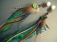 Dangle Plugs / Feather Gauge Earrings / Stone Wood by Chrysalism