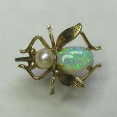 *SOLD* Laura's lifeintheknife on Ruby Lane: Vintage Retro 14K Yellow Gold Opal & Pearl Fly Insect Tie Tack Pin