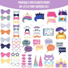 Instant Download Pony MLP My Little Pony Inspired Printable Photo Booth Prop Set — Amanda Keyt DIY Photo Booth Props & More!