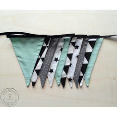 Stoffen vlaggenlijn Handmade Black/Mint voor bijv. Babyshower
