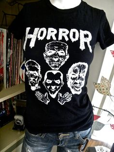 Horror Squad Women's Crew Neck Hand Screen Tshirt Sm, Med, Lg and XL on Etsy, $20.00