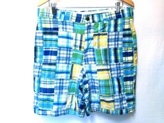BROOKS BROTHERS Mens Blue Yellow Plaid Button Front Walking Golf Shorts 36 | eBay