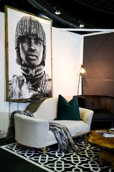 Black and white prints in living room.
