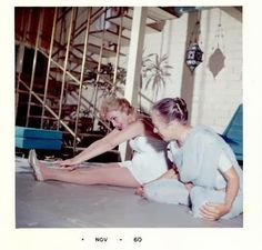 Indira Devi teaching Marilyn Monroe Yoga 1960 via grimmmly2007. Image source unknown. #Yoga #Marilyn_Monroe #Indira_Devi