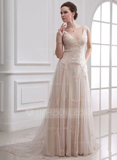 Wedding Dresses - $198.99 - A-Line/Princess V-neck Court Train Satin Tulle Wedding Dress With Lace Beadwork (002000313) http://jjshouse.com/A-Line-Princess-V-Neck-Court-Train-Satin-Tulle-Wedding-Dress-With-Lace-Beadwork-002000313-g313