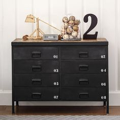 Trend spotting: Get in the game! - This locker-inspired dresser makes it easy to turn any kids room into a sports room! Trend spotting: Get in the game! - This locker-inspired dresser makes it easy to turn any kids room into a sports room! Industrial Dresser, Industrial Bedroom Design, Vintage Industrial Furniture, Industrial Boys Rooms, Industrial Style, Boy Dresser, Ikea Dresser, Ideas Decorar Habitacion, Vintage Bedrooms
