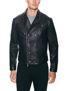 Leather Epaulette Detail Biker Jacket from John Varvatos Star USA on Gilt