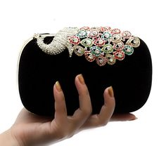 TopTie Crystal Peacock Decorated Fashion Hand Case - Black