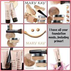 Mary Kay foundations for everyone!  Powder foundation, liquid foundation, CC cream, and more! www.marykay.com/kaseyedwards