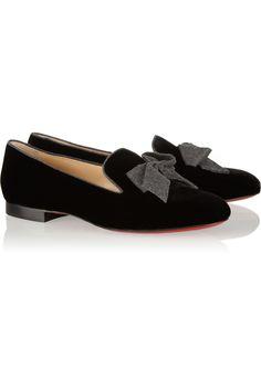 0076501f566 Christian Louboutin - Gine bow-detailed velvet slippers