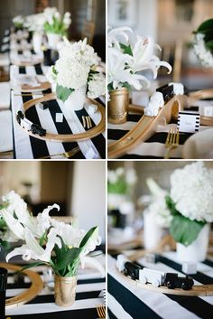 LOVE the whimsical table decor featuring an Ikea train set painted gold with a black and white train set, winding around the table!
