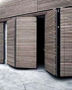 Wood Slats Garage Door Ideas With Flush Look When Closed
