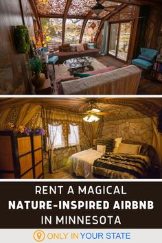This magical nature-themed getaway belongs on your travel bucket list. One of Minnesota's many gems, this relaxing rental retreat is absolutely beautiful. It offers incredible art, amenities, and plenty of peace and quiet. It's perfect for a romantic weekend getaway! Woodlands Cottage, Romantic Weekend Getaways, Hidden Beach, Luxury Accommodation, Staycation, Abandoned Places, Hotels And Resorts, Road Trips, Travel Usa