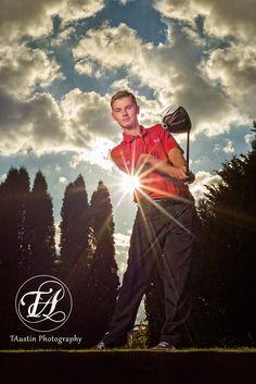 Boy Senior Photos at the Golf Course