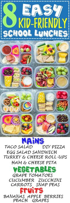 8 Easy, Healthy and Delicious Lunches for Back To School. With tons of ideas along with options for nut free, dairy free and gluten free choices. There is something for even picky eaters who will want to finish their food with no leftovers. Perfect for ad Lunch Box Bento, Lunch Snacks, Lunch Boxes, Snacks Kids, Easy School Lunches, Kids Lunch For School, Kid Lunches, Packed Lunch Ideas For Adults, Lunch Kids