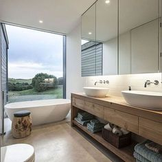 Turn to the vanity to introduce wooden element into the modern bathroom Amazing Modern Bathroom Design Ideas to Increase Home Values Modern Bathroom Design, Bathroom Interior Design, Modern House Design, Modern Bathrooms, Bathroom Designs, Dream Bathrooms, Half Bathrooms, Luxury Bathrooms, Design Kitchen