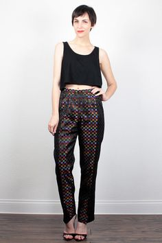 2d120de266 Vintage 90s Pants High Waisted Pants Rainbow Black Check Plaid Print  Brocade Pants 1990s Slacks Skinny Cigarette Pants Cache Pants 4 S Small