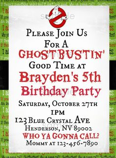Ghostbusters Printable Invite