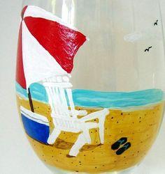 ADIRONDACK CHAIR WINE GLASS - hand painted beach glassware